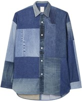 Mihara Yasuhiro Modified Blue Patchwork Denim Shirt