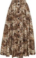 Thumbnail for your product : Ganni Gathered Printed Cotton-poplin Midi Skirt