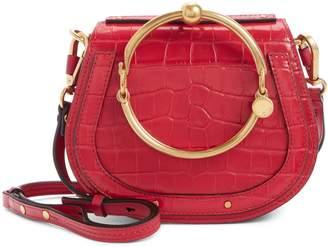 Chloé Nile Bracelet Croc Embossed Leather Crossbody Bag