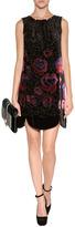 Anna Sui Rose Border Burnout Dress in Black Multi