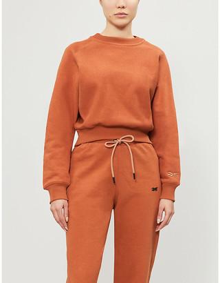 Reebok x Victoria Beckham Branded loose-fit cotton-knit sweatshirt