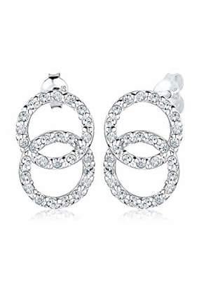 Elli Women Earrings Circle Earrings 925 Sterling Silver Brilliant Cut Made with Swarovski Elements White - 0310890814