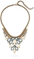 "Sorrelli Coastal Mist Semi Precious and Navette Crystal Statement Bib Necklace, 15.5"" + 3.5"" Extender"