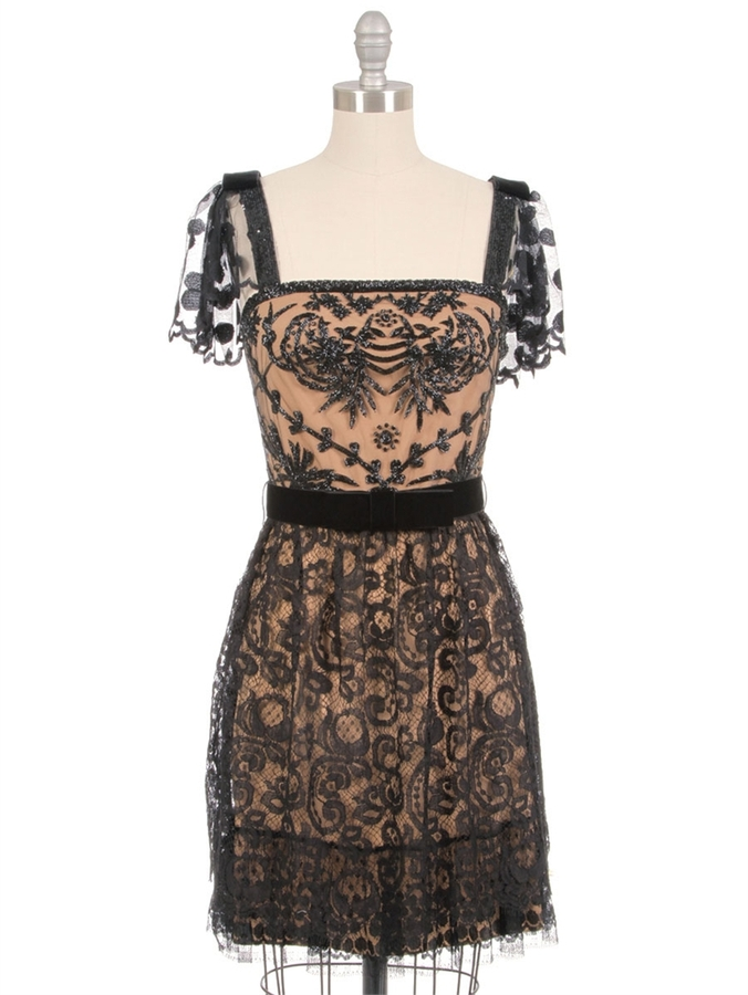 Collette Dinnigan Beaded Paisley Spot Lace Dress