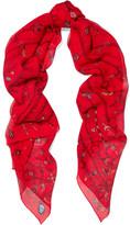 Alexander McQueen Heart Chain Printed Silk-chiffon Scarf - Red