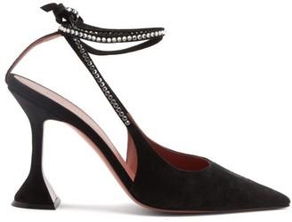 Amina Muaddi Karma Crystal Ankle-strap Suede Pumps - Black
