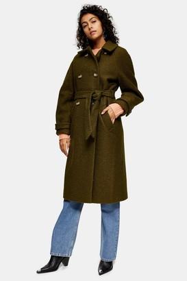 Topshop Womens Khaki Boucle Trench Coat - Khaki