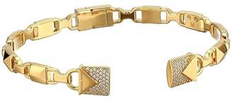 Michael Kors Precious Metal-Plated Sterling Silver Pave Open Hinge Bangle Bracelet (Gold) Bracelet
