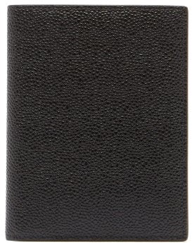 Thom Browne Grained-leather Passport Holder - Black