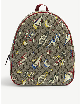 Gucci Kids Space logo-print leather backpack