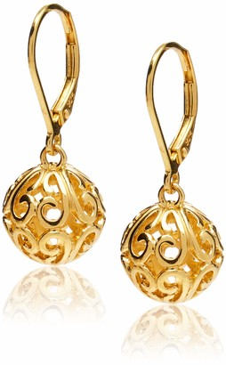 Amazon Collection 18k Yellow Gold Plated Sterling Silver Filigree Ball Leverback Dangle Earrings