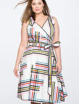 ELOQUII Tie Shoulder Wrap Dress with Piping