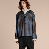 Burberry Pyjama Stripe Silk Cotton Collarless Shirt