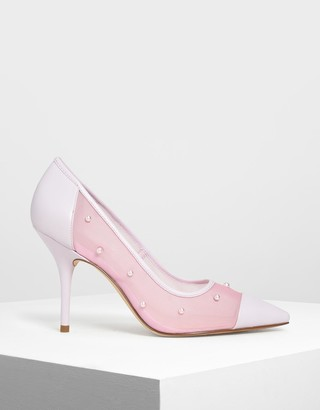 Charles & Keith Embellished Mesh Pointed Pumps