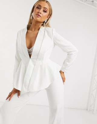 Club L London collar detail peplum blazer in white