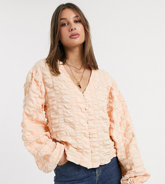 Asos Tall DESIGN Tall long sleeve textured top with button front-No Colour