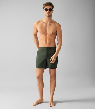 Reiss Jose - Swim Shorts With Side Adjusters in Khaki