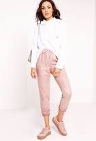 Missguided Faux Suede Joggers Dusky Pink