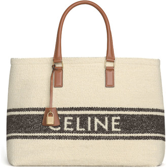 Celine Cabas Horizontal Textile Calfskin Tote