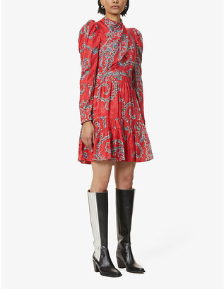 Sandro Tali paisley-jacquard mini wrap dress