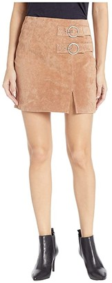 Blank NYC Suede Skirt with Double Buckle in Hazelnut