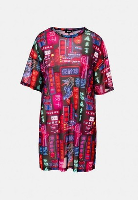 Missguided Purple Printed Neon Sign Mesh Oversized T Shirt Dress