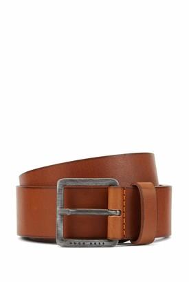HUGO BOSS Mens Jeeko Sz40 Smooth-leather belt with brushed-effect buckle