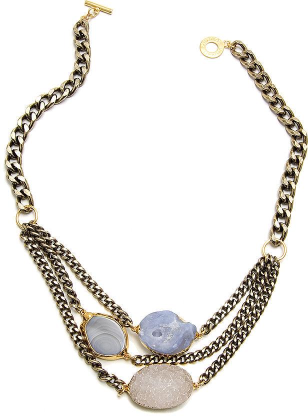 Janna Conner Demetra Multi-Stone Bracelet, Crystal Druzy/Blue Lace Agate/Botswana Agate 1 ea