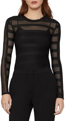 BCBGMAXAZRIA Sheer Stripe Top