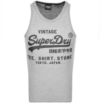 Superdry Vintage Real Logo Vest T Shirt Grey