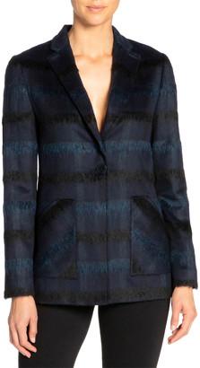 Santorelli Hannah Tonal Plaid Wool One-Button Jacket