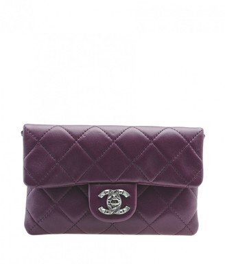 Chanel Purple Leather Clutch bags