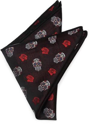 Cufflinks Inc. Sugar Skull Silk Pocket Square