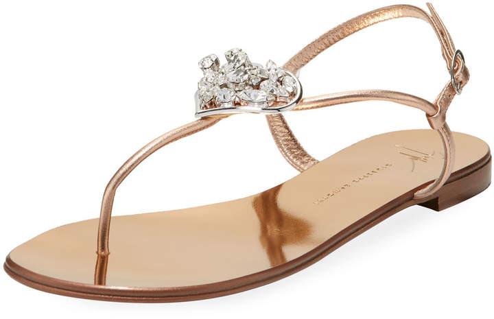 Giuseppe Zanotti Metallic Leather Jeweled Sandal