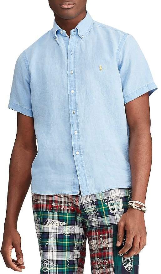 Polo Ralph Lauren Short-Sleeve Linen Classic Fit Button-Down Shirt