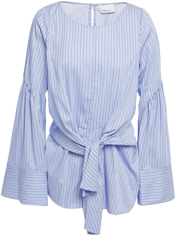 3.1 Phillip Lim Tie-front Striped Cotton-blend Poplin Top