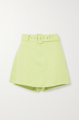 Faithfull The Brand Celia Belted Layered Linen Shorts - Lime green