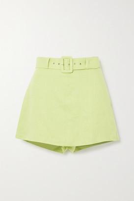 Faithfull The Brand Net Sustain Celia Belted Layered Linen Shorts - Lime green