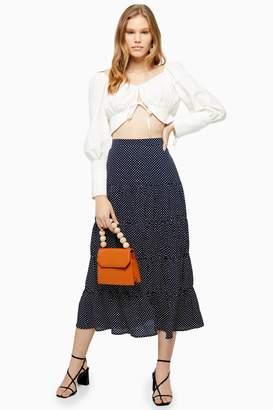 Topshop Navy Spot Tiered Maxi Skirt