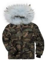 SAM. Girl's Blake Fur-Trim Camo Puffer Coat