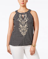 INC International Concepts Plus Size Soutache-Trim Striped Halter Top, Only at Macy's