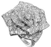 Piaget Pavé Diamond Rose Ring in 18K White Gold, Size 52