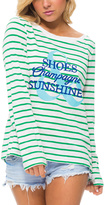 Macbeth Green Stripe 'Shoes Champagne Sunshine' Scoop Neck Top