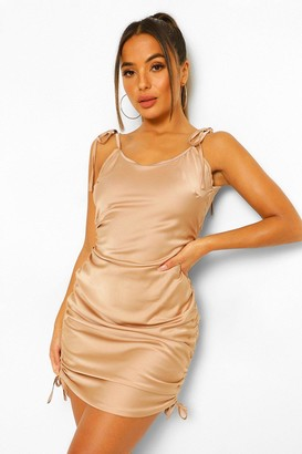 boohoo Petite Satin Tie Strap Ruched Bodycon Dress