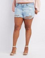 Charlotte Russe Plus Size Refuge Hi-Rise Cheeky Destroyed Denim Shorts