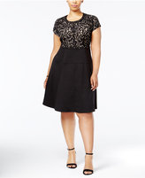 NY Collection Plus Size Embellished Lace Fit & Flare Dress