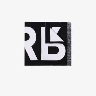 Burberry Black Logo Jacquard Wool Scarf