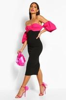 boohoo Bardot Puff Sleeve Midi Dress