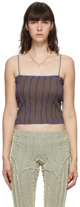 Helenamanzano SSENSE Exclusive Brown and Blue 3D Stripe Tank Top