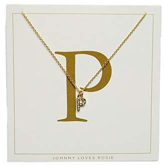 Johnny Loves Rosie Women Gold Plated Glass Chain Necklace of Length 48cm P Initial Gift Card
